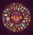 set of hair salon cartoon doodle objects vector image vector image