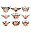 set of winged emblems with basketball ball design vector image