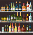 showcase with alcohol drinks or beverages vector image vector image