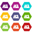 tourist tent icons set 9 vector image vector image