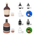 types of alcohol cartoonblackflatmonochrome vector image