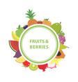 white poster with the name and with fruits and vector image