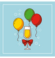 wine glass bow balloons flying decoration party vector image