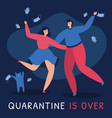 a couple is happy that quarantine ended vector image vector image