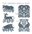 ancient celtic mythological symbol animals set vector image