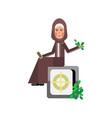 arabic woman sitting on bank safe vector image vector image