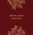 beige outline roses on the maroon greeting card vector image vector image