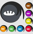 Bread icon sign Symbols on eight colored buttons vector image vector image