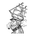 captain with sailing ship cap vector image