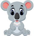 cartoon adorable koala sitting vector image vector image
