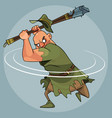 cartoon man in medieval clothes swings a mace vector image vector image