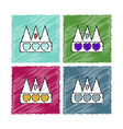 collection of flat shading style icons crown vector image vector image