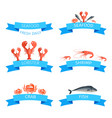 delicious fresh seafood promotional emblems set vector image