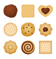 different shapes of eating biscuit home made vector image