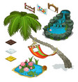 elements of decorating landscape island theme vector image vector image