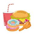 fast food burger donuts chicken and soda menu vector image