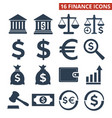 finance icons set on white background vector image