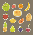 funny cartoon fruits flat vector image vector image