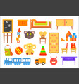 furniture and toys for childrens rooms vector image vector image