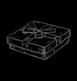 gift box hand drawn sketch on black background vector image