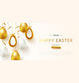 happy easter poster with realistic golden shine vector image