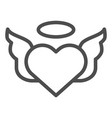 heart with pair of wings line icon valentines vector image vector image