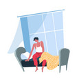 man waking up in morning male character sitting vector image vector image