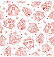 red gingerbread houses seamless pattern vector image