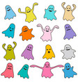 set colorful funny ghost icons vector image vector image