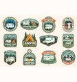 set rv camping badges patches concept vector image