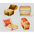 set treasure chest isolated on transparent vector image