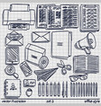 sketch work style set 2 vector image vector image