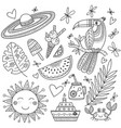 summer tropical set coloring page vector image vector image