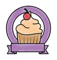 sweet cupcake emblem with ribbon vector image