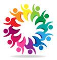 teamwork hi unity people logo design vector image
