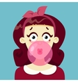 The girl blows gum vector image
