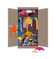 untidy open woman wardrobe closet with messy vector image vector image