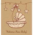 Welcome New Baby Greeting Card with Cradle vector image vector image