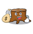 with money bag tree stump character cartoon vector image vector image