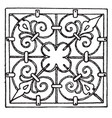 wrought-iron square panel was is a 17th century vector image vector image
