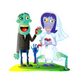 zombies wedding with married zombie couple vector image