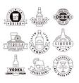 Alcohol drinks emblems badges logo set vector image