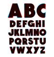 3d glasses effect alphabet font type alphabet vector image vector image