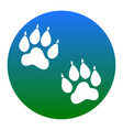 animal tracks sign white icon in bluish vector image