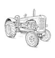 artistic drawing of old tractor vector image vector image