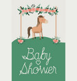baby shower card with cute horse vector image
