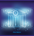 bank building financial technology icon vector image