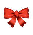 beautiful realistic red bow silk style of vector image vector image