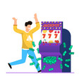 big win in casino slot machine cartoon vector image vector image