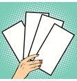 Booklets or tickets in hand vector image vector image